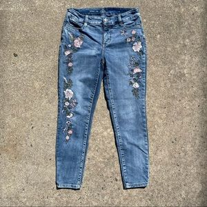 St. John's Bay Floral Embroidered Skinny Leg Jeans